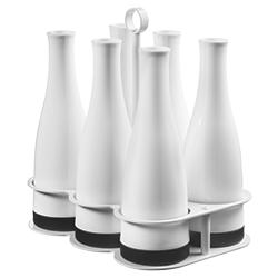 White 6 Carafe Carrier Tray with Carafes